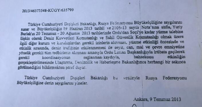 Rus Gezgin Yuriy Aleksandroviç Burlak'ın 2013'teki Ordu-Soçi yolculuğu için çıkan izin belgesi.