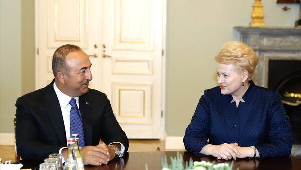 Dışişleri Bakanı Mevlüt Çavuşoğlu Vilnius'ta Litvanya Cumhurbaşkanı Dalia Grybauskaite tarafından ağırlandı. - Sputnik Türkiye