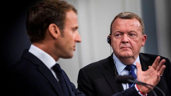 Fransa Cumhurbaşkanı Emmanuel Macron ve Danimarka Başbakanı Lars Lökke Rasmussen - Sputnik Türkiye