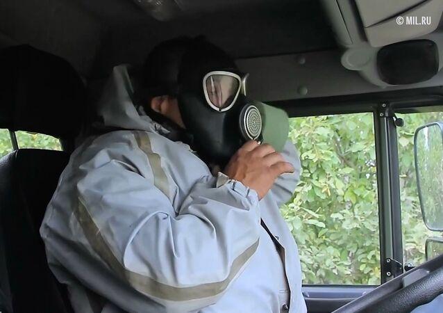 Rus askerlerden aerosol perdesi