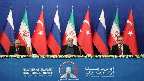 Erdoğan-Ruhani-Putin - Sputnik Türkiye