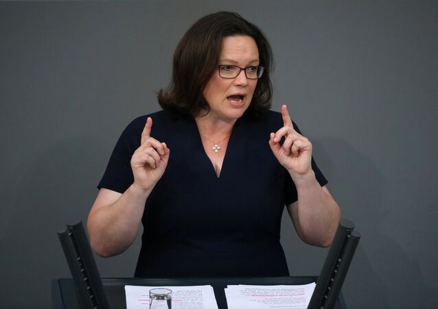 Andrea Nahles, leader of Social Democratic Party (SPD), speaks during a budget debate at the lower house of parliament Bundestag in Berlin