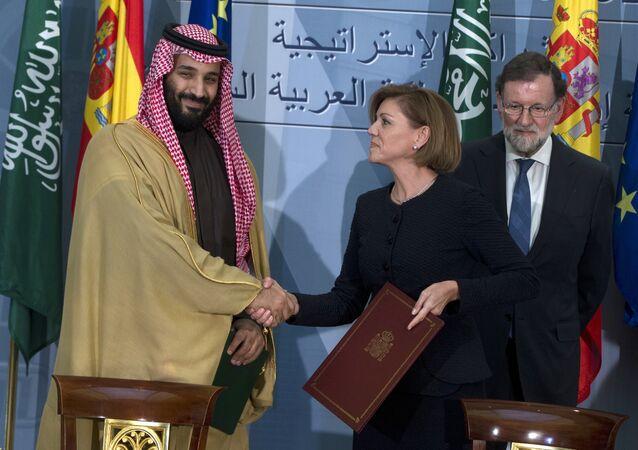 Suudi Arabistan Veliaht Prens iMuahmmed bin Selman- İspanya'nın eski Savunma Bakanı Maria Dolores Cospedal- Eski İspanya Başbakanı Mariano Rajoy