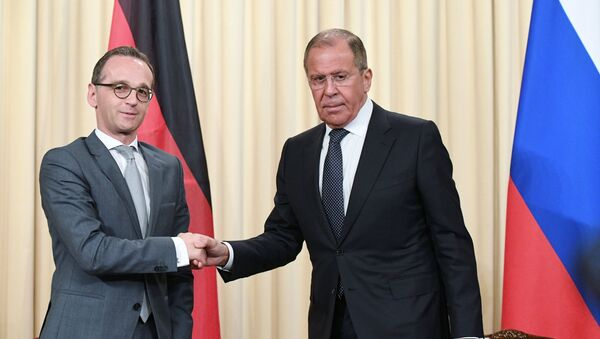 Russian Acting Foreign Minister Sergei Lavrov and German Foreign Minister Heiko Maas, left, at a joint news conference following a meeting at the Russian Foreign Ministry Reception House - Sputnik Türkiye