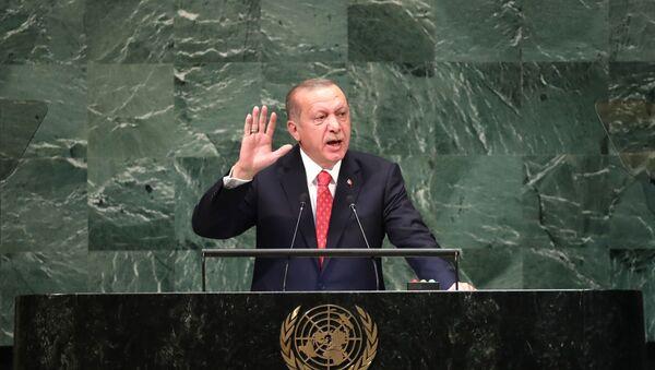 Recep Tayyip Erdoğan 73. BM Genel Kurulu'nda konuştu.  - Sputnik Türkiye