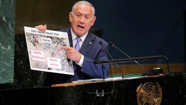 İsrail Başbakanı Benyamin Netanyahu, 73. BM Genel Kurulu konuşmasında yine İran karşıtı sunumlar yaptı. - Sputnik Türkiye