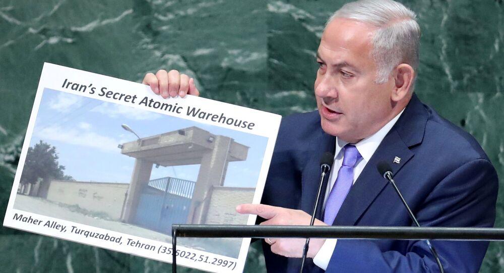 İsrail Başbakanı Benyamin Netanyahu 73. Birleşmiş Milletler Genel Kurulu'nda İran'ın Tahran yakınalrında gizli nükler tesisi olduğunu iddia etti