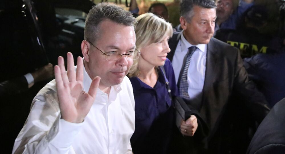 U.S. pastor Andrew Brunson and his wife Norrine arrive at the airport in Izmir, Turkey October 12, 2018.