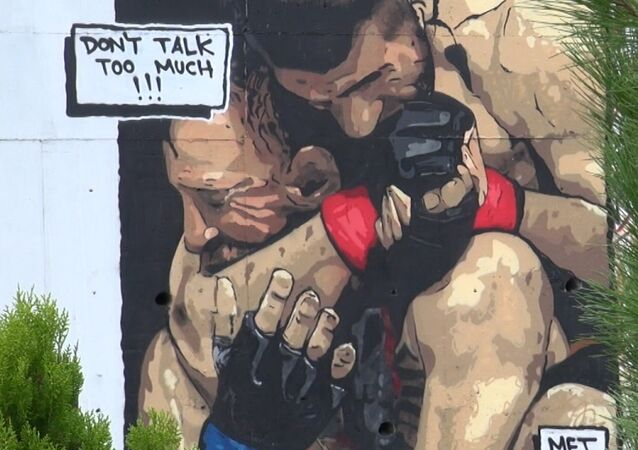 Türk sokak sanatçısından İstanbul'da Khabib graffitisi