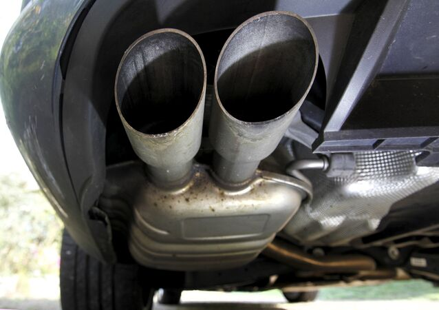 The exhaust system of a Volkswagen Passat TDI diesel car is seen in Esquibien, France, September 23, 2015