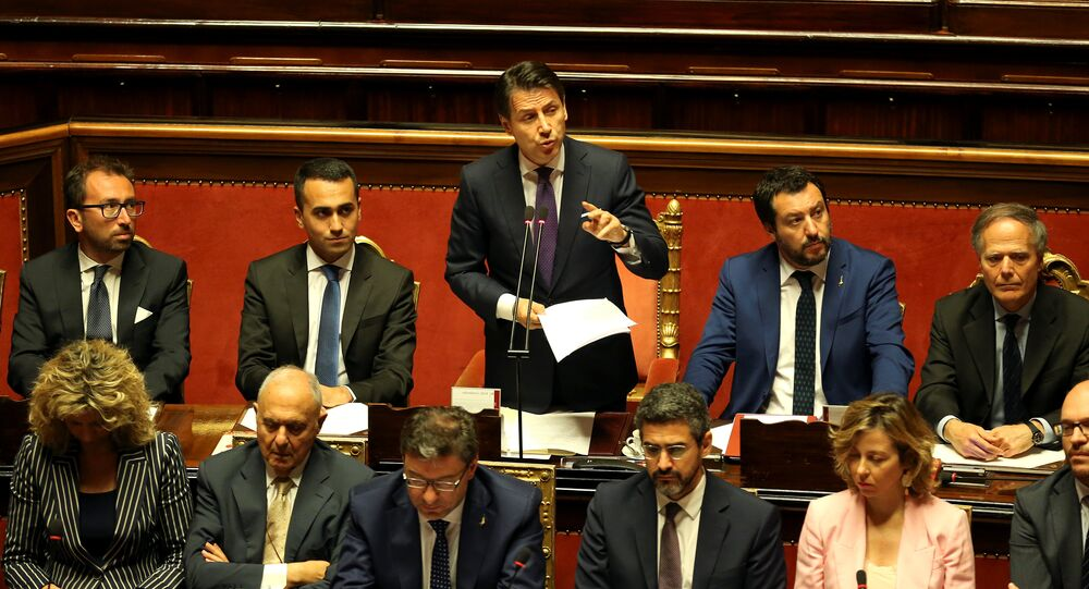 Newly appointed Italian Prime Minister Giuseppe Conte speaks next to Interior Minister Matteo Salvini, Minister of Labor and Industry Luigi Di Maio, Minister of Justice Alfonso Bonafede and Foreign Minister Enzo Moavero Milanesi during his first session at the Senate in Rome, Italy, June 5, 2018
