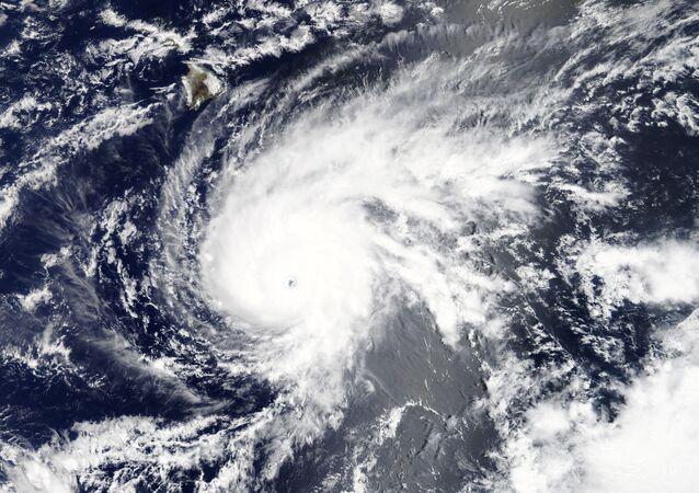 Hurricane Lane, upgraded to a Category 5 storm, is pictured approaching Hawaii, U.S. in this August 21, 2018