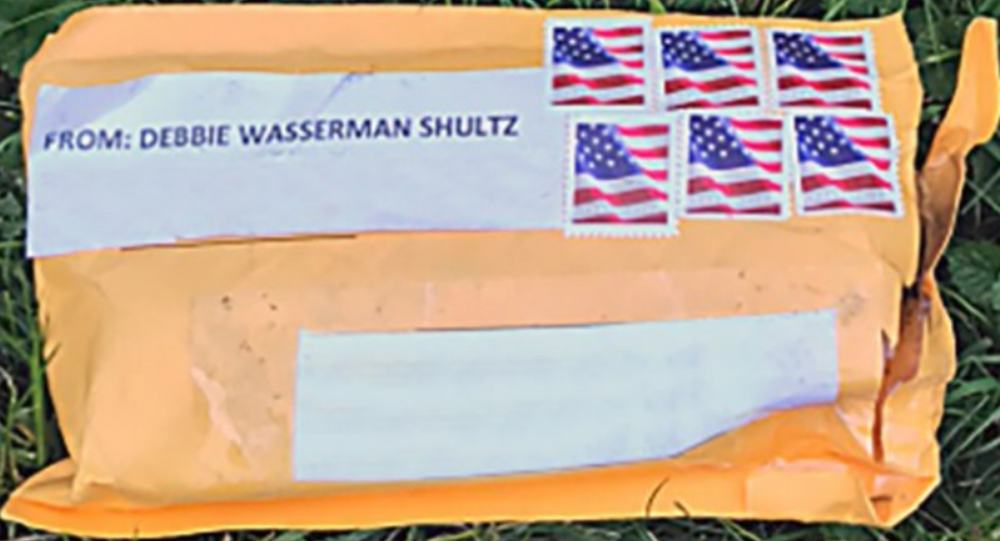 Exterior of one of the suspicious packages. Addresses have been removed to protect privacy.
