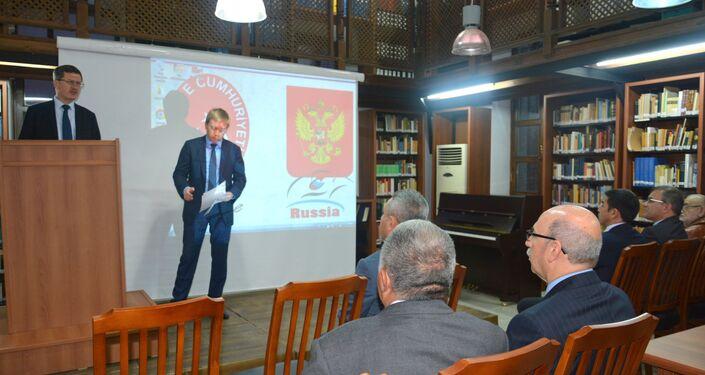 """""""Beyaz Rusların Gelibolu Gurbetinin 100. Yılına Doğru"""" adlı konferans sırasında Rusya İstanbul Başkonsolosu Andrey Podelyshev'in konuşması."""