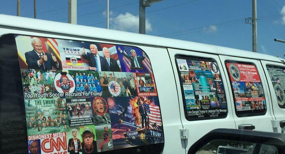 Florida'da yakalanan bombalı paket furyasının zanlısı Cesar Sayoc'un minibüsü