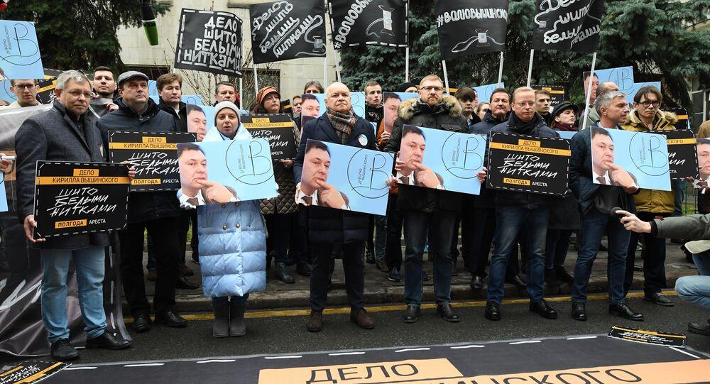 Moskova'da Vışinskiy'ye destek eylemi