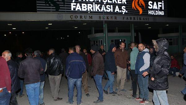 Çorum'da, özelleştirilen şeker fabrikası yönetimi tarafından alacaklarının ödenmediğini iddia eden üretici ve nakliyeciler, Çorum-Samsun karayolunu trafiğe kapattı. - Sputnik Türkiye