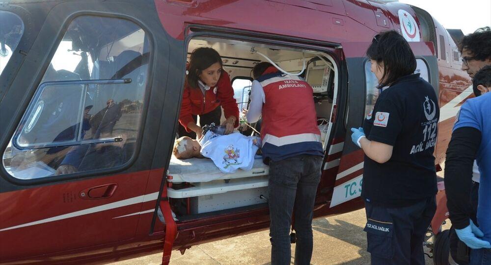 Ambulans helikopter, 10 aylık Rüzgar bebek için havalandı