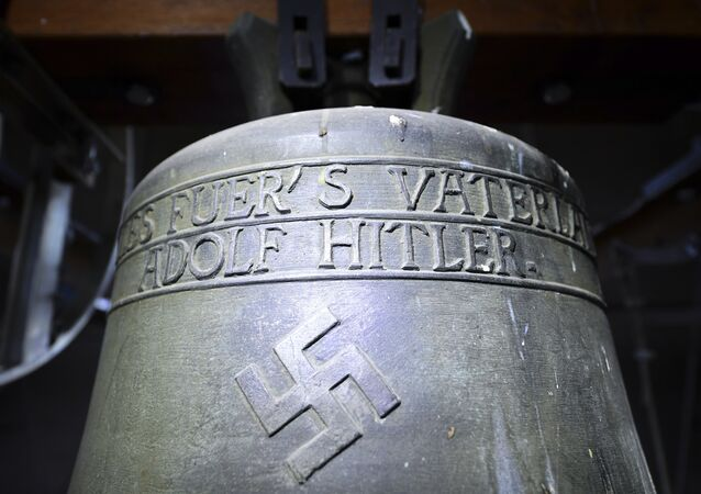 Church bell with the inscription Everything for the fatherland Adolf Hitler and a swastika is pictured in the town church in Herxheim am Berg, western Germany. (File)