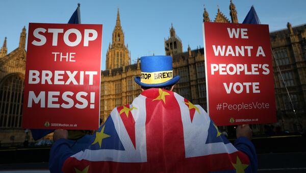 Londra'da parlamento önünde protesto düzenleyen Brexit karşıtları, ikinci referandum istiyor. - Sputnik Türkiye