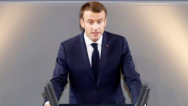 Fransa Cumhurbaşkanı Emmanuel Macron, Almanya Federal Meclisi'nde konuştu - Sputnik Türkiye