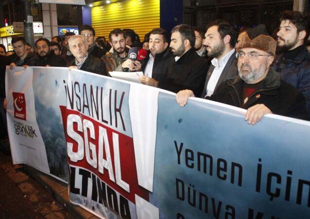 Saadet Partisi İstanbul Gençlik Kolları, Yemen'de 2015'den beri süren insani kriz için eylem yaptı.