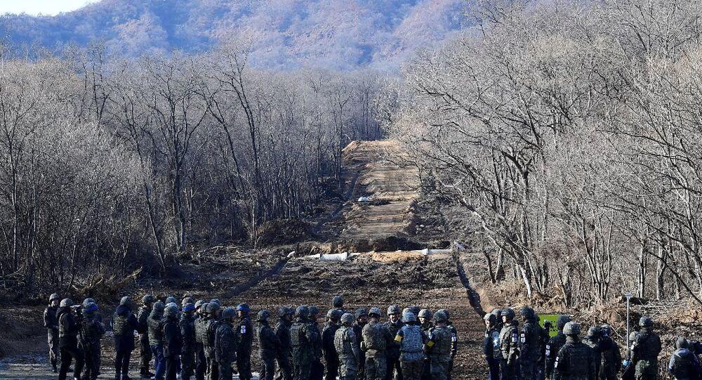 Güney Kore ve Kuzey Kore'nin sınırdaki Askerden Arındırılmış Bölgedeki (DMZ) yapılacak 3 kilometrelik kara yolu