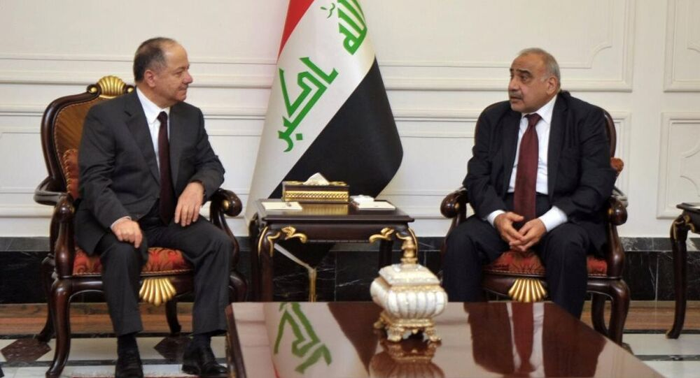 Eski Irak Kürt Bölgesel Yönetimi Başkanı Mesut Barzani ile Irak Başbakanı Adil Abdulmehdi