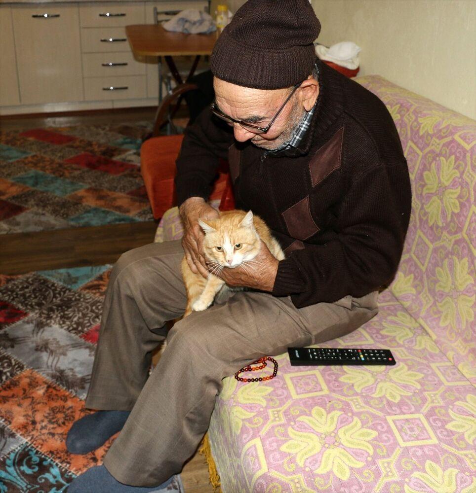 'Ali dede' yeni evinde kedileriyle mutlu