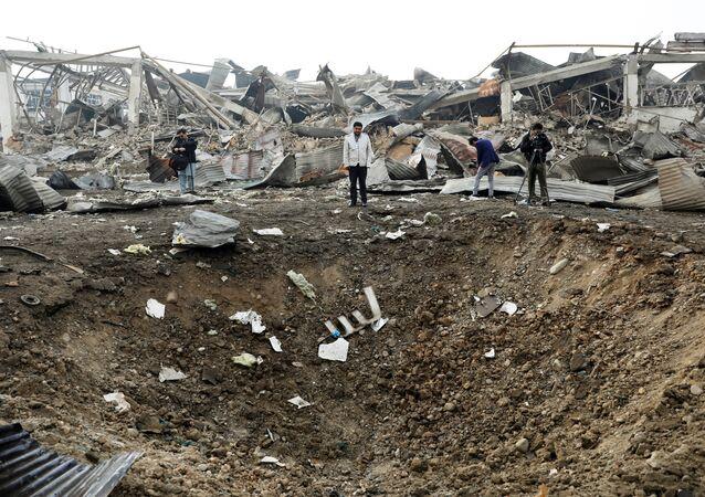Afganistan'ın başkenti Kabil'de bir bombalı saldırı olay yeri