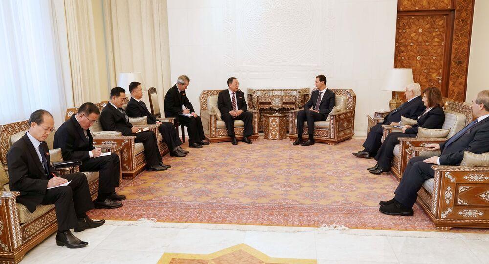 Suriye Devlet Başkanı Beşar Esad'ın Kuzey Kore Dışişleri Bakanı Ri Yong Ho'yu kabulü