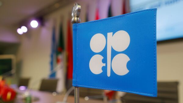 A flag with the Organization of the Petroleum Exporting Countries (OPEC) logo is seen before a news conference at OPEC's headquarters in Vienna, Austria, December 10, 2016 - Sputnik Türkiye