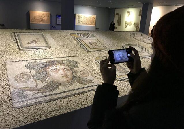 Zeugma Çingene Kızı mozaiğinin parçaları