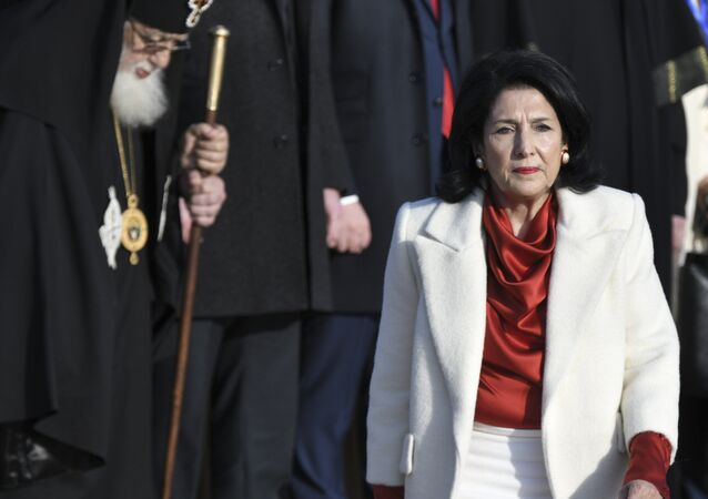 The new Georgian President Salome Zurabishvili arrives to attend her inauguration in Telavi, Georgia, Sunday, Dec. 16, 2018
