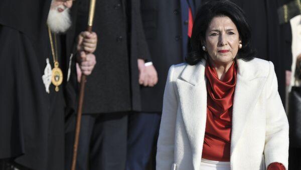 The new Georgian President Salome Zurabishvili arrives to attend her inauguration in Telavi, Georgia, Sunday, Dec. 16, 2018 - Sputnik Türkiye