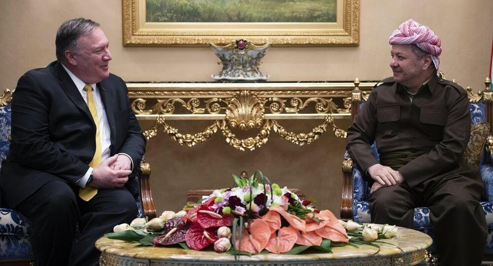 Kürdistan Demokrat Partisi (KDP) Başkanı Mesud Barzani ve ABD Dışişleri Bakanı Mike Pompeo