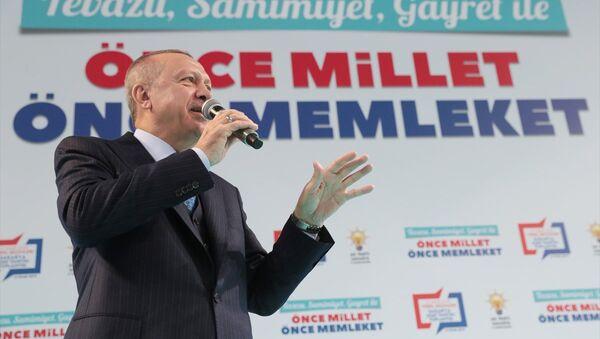 Cumhurbaşkanı ve AK Parti Genel Başkanı Recep Tayyip Erdoğan, Serdivan Spor Salonu'ndaki AK Parti Sakarya Belediye Başkan Adaylarını Tanıtım Toplantısına katılarak konuşma yaptı. - Sputnik Türkiye