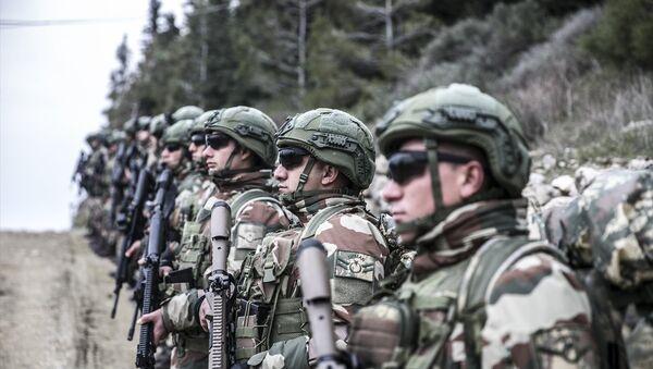 Türk Silahlı Kuvvetleri (TSK) tarafından Suriye sınırındaki birliklere takviye amaçlı gönderilen birlikler, Hatay sınırında eğitim faaliyeti gerçekleştirdi. - Sputnik Türkiye