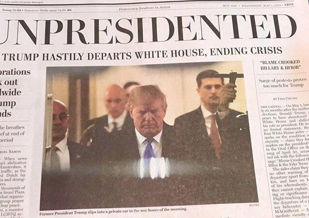 Trump için 'unpresidented' yani 'başkansız' manşeti atılmış sahte Washington Post