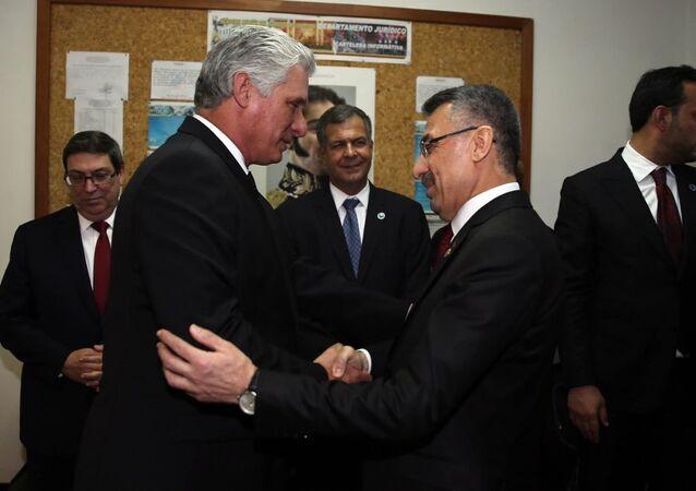 Cumhurbaşkanı Yardımcısı Fuat Oktay ile Küba Devlet Başkanı Miguel Diaz Canel