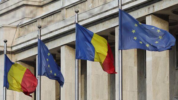 1 Ocak 2019'da AB Dönem Başkanlığını devralan Romanya'da hükümet binaları önüne bayraklar çekildi. - Sputnik Türkiye