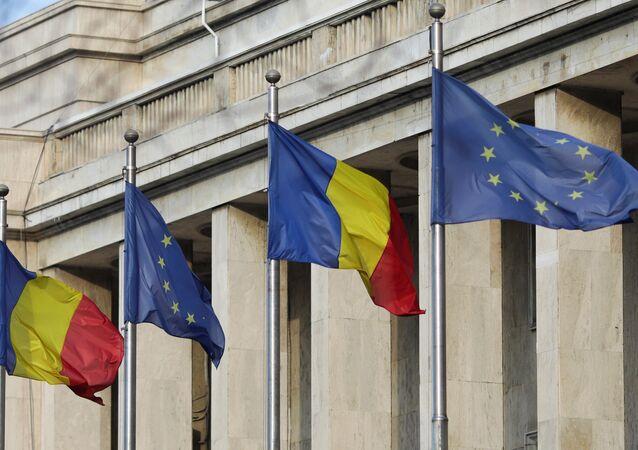 1 Ocak 2019'da AB Dönem Başkanlığını devralan Romanya'da hükümet binaları önüne bayraklar çekildi.