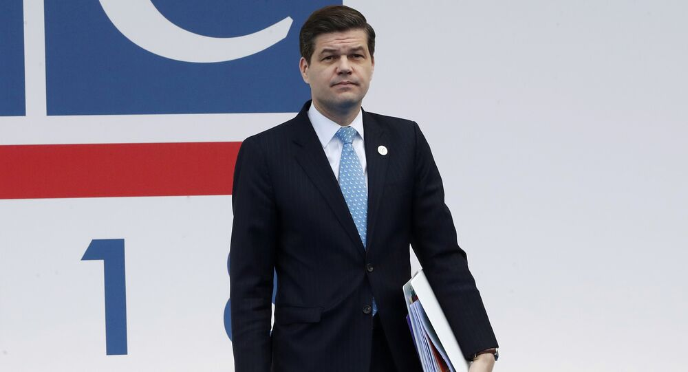 United States' Wess Mitchell, assistant secretary of State for European and Eurasian Affairs, arrives for the 25th Organization for Security and Co-operation in Europe, OSCE, ministerial council meeting, in Milan, Italy, Thursday, Dec. 6, 2018.
