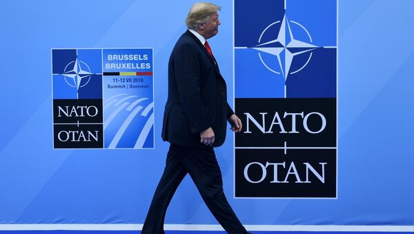 Donald Trump'ın 11 Temmuz 2018 NATO zirvesine gelişi - Sputnik Türkiye