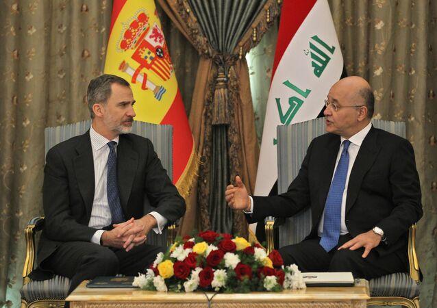 İspanya Kralı 6. Felipe ve Irak Cumhurbaşkanı Behram Salih