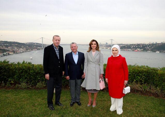 Recep Tayyip Erdoğan ve eşi Emine Erdoğan ile Ürdün Kralı 2. Abdullah ve eşi Rania el Abdullah