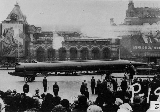 CIA reference photograph of Soviet medium-range ballistic missile (SS-4 in U.S. documents, R-12 in Soviet documents) in Red Square, Moscow. The weapon was deployed to Cuba in October 1962, sparking the Cuban Missile Crisis.