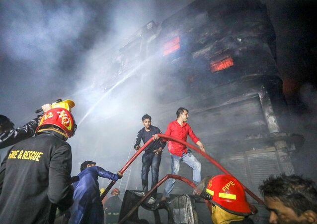 Bangladeş'in başkenti Dakka'da yangın