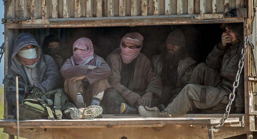 IŞİD'in Suriye'de elinde tuttuğu son köy olan Baghuz'da DSG'ye teslim olan IŞİD'liler