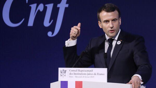 Fransa'daki Yahudi Kurumları Konseyi'nin (CRIF) yıllık yemeğine katılan Emmanuel Macron, '2. Dünya Savaşı sonrası en kötü düzeye' ulaştığını söylediği anti semitizmle mücadele için yol haritasını açıkladı. - Sputnik Türkiye